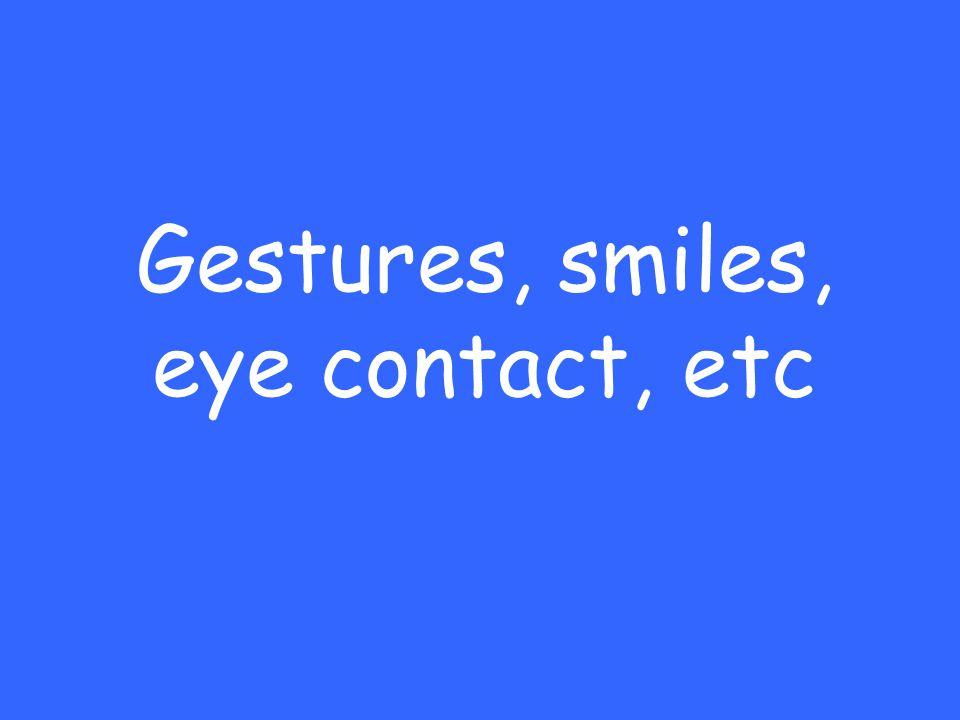 Gestures, smiles, eye contact, etc