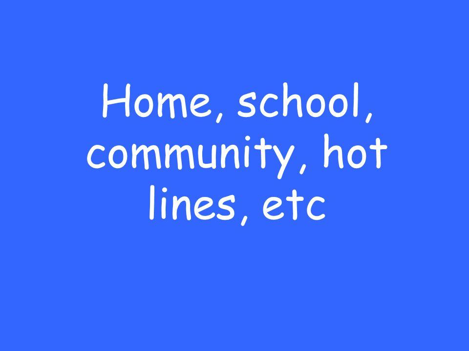 Home, school, community, hot lines, etc