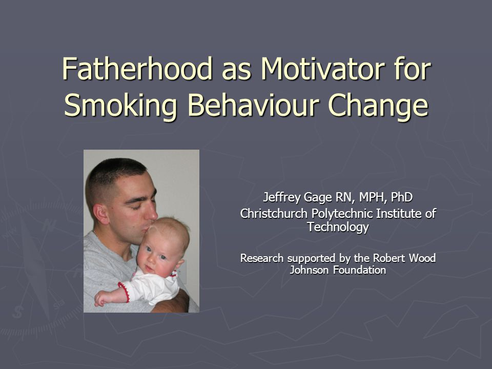 Background A supportive male partner is the most significant influencing factor on the success of smoking cessation during pregnancy A supportive male partner is the most significant influencing factor on the success of smoking cessation during pregnancy (McBride et al., 1998; Nafstad, Botten, & Hagen, 1996) The influence of the male partner is also the strongest predictor for maternal quitting and relapse post-delivery The influence of the male partner is also the strongest predictor for maternal quitting and relapse post-delivery (Mermelstein, Cohen, Lichtenstein, Baer, & Karmarck, 1986; Severson, Andrews, Lichtenstein, Wall, & Akers, 1997) (Mermelstein, Cohen, Lichtenstein, Baer, & Karmarck, 1986; Severson, Andrews, Lichtenstein, Wall, & Akers, 1997)