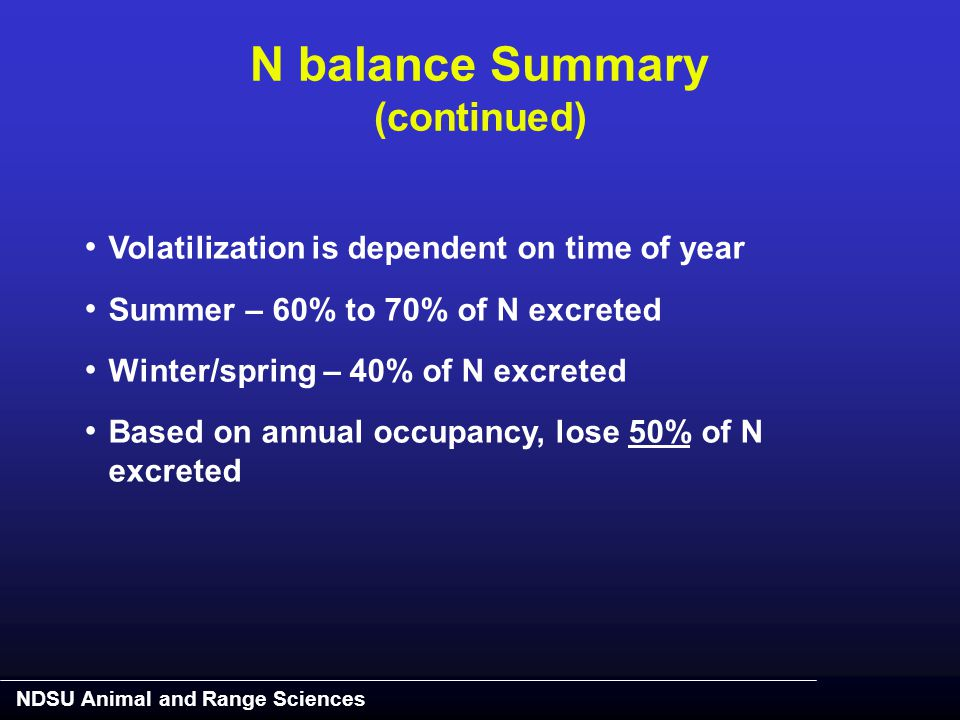 NDSU Animal and Range Sciences Volatilization is dependent on time of year Summer – 60% to 70% of N excreted Winter/spring – 40% of N excreted Based o
