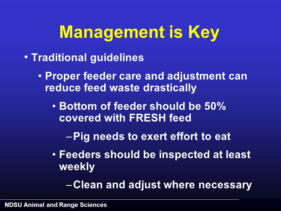 NDSU Animal and Range Sciences Management is Key Traditional guidelines Proper feeder care and adjustment can reduce feed waste drastically Bottom of