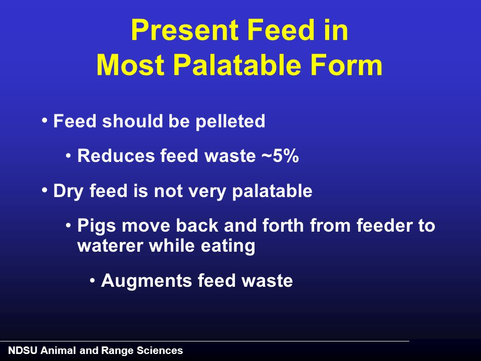 NDSU Animal and Range Sciences Present Feed in Most Palatable Form Feed should be pelleted Reduces feed waste ~5% Dry feed is not very palatable Pigs