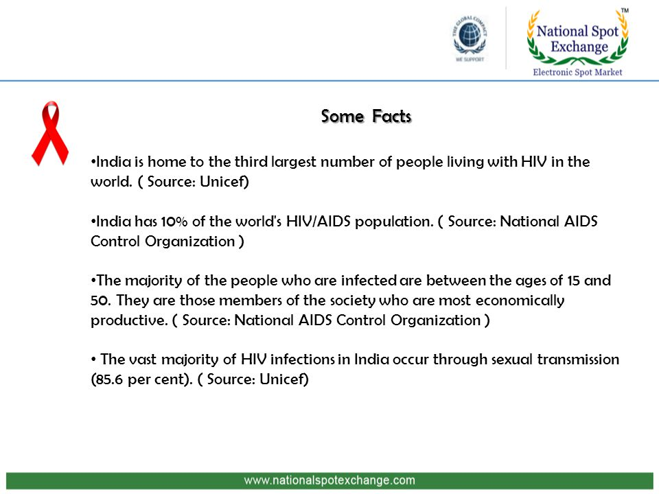Some Facts India is home to the third largest number of people living with HIV in the world.