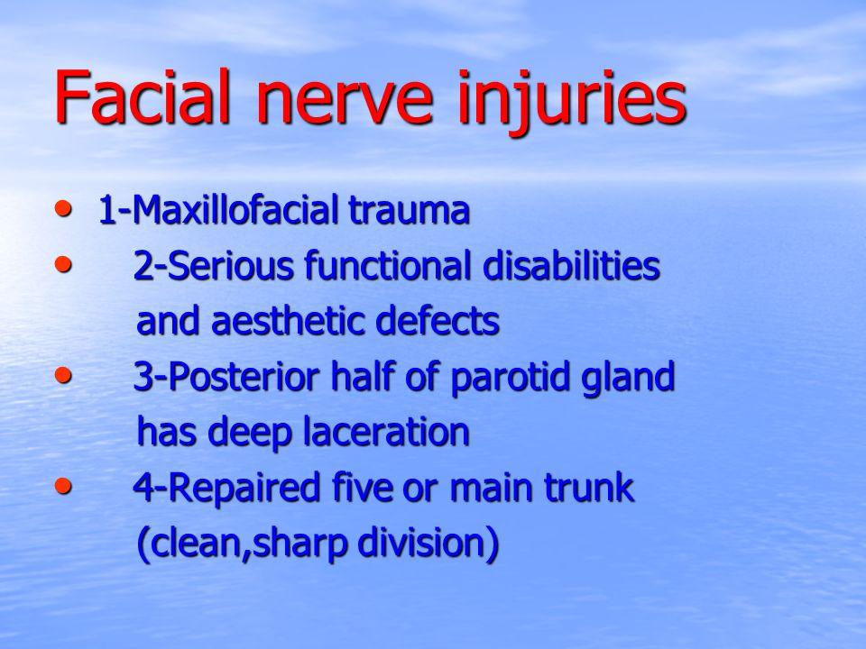 Facial nerve injuries 1-Maxillofacial trauma 1-Maxillofacial trauma 2-Serious functional disabilities 2-Serious functional disabilities and aesthetic