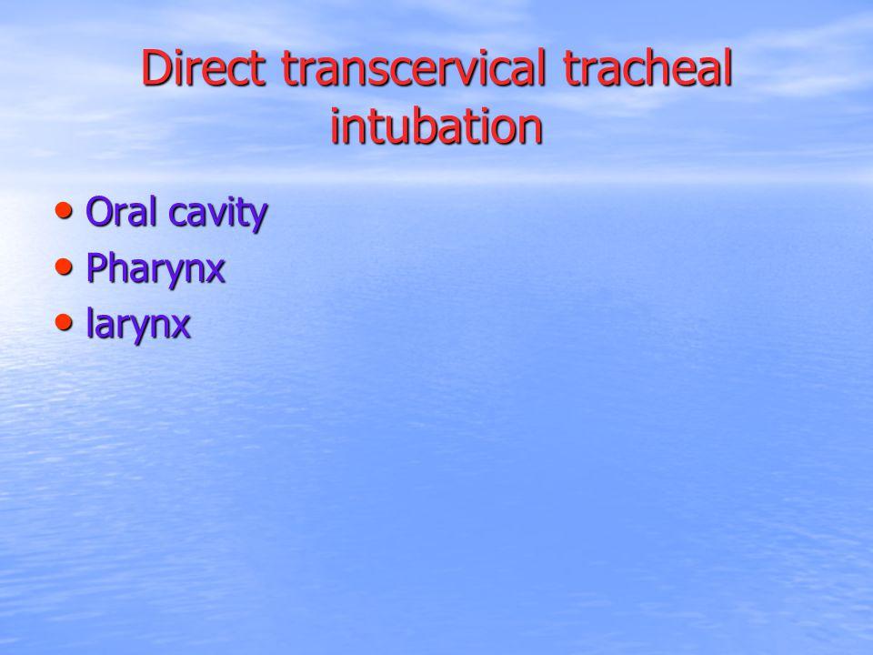 Direct transcervical tracheal intubation Oral cavity Oral cavity Pharynx Pharynx larynx larynx