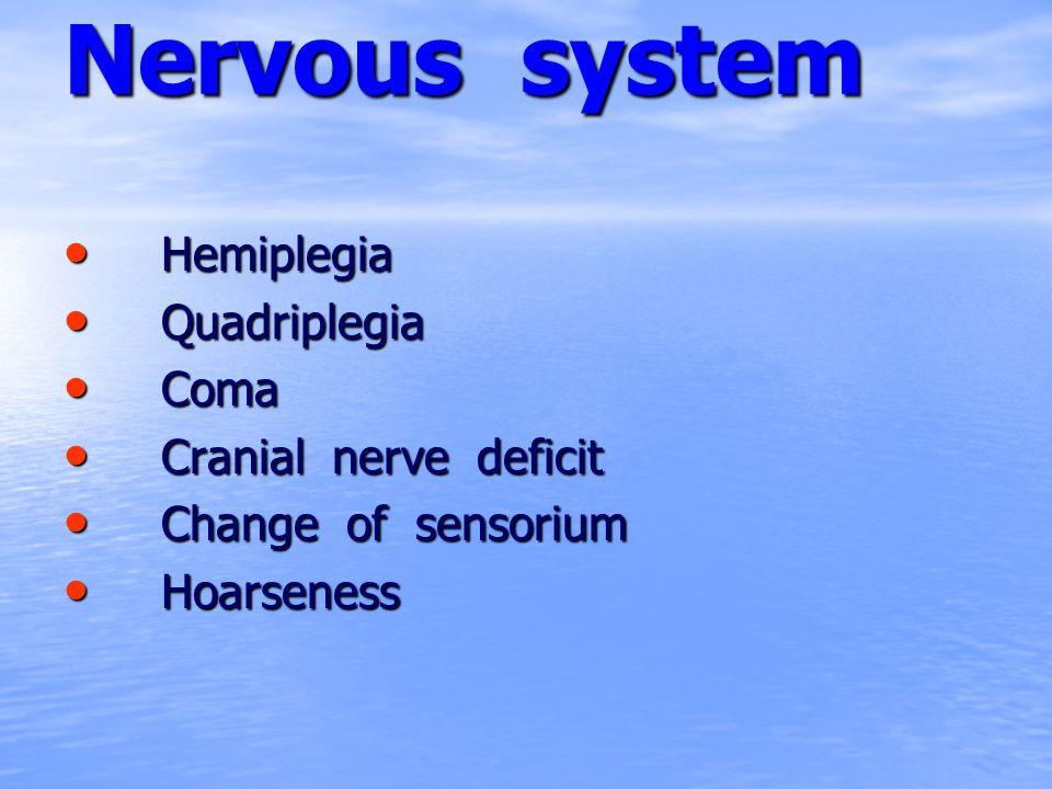 Nervous system Hemiplegia Hemiplegia Quadriplegia Quadriplegia Coma Coma Cranial nerve deficit Cranial nerve deficit Change of sensorium Change of sen