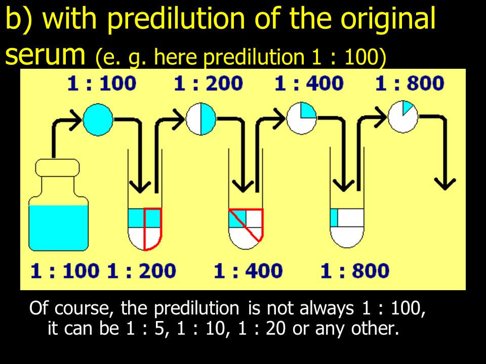 b) with predilution of the original serum (e. g.