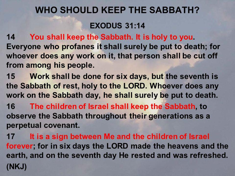 WHO SHOULD KEEP THE SABBATH. EXODUS 31:14 14You shall keep the Sabbath.