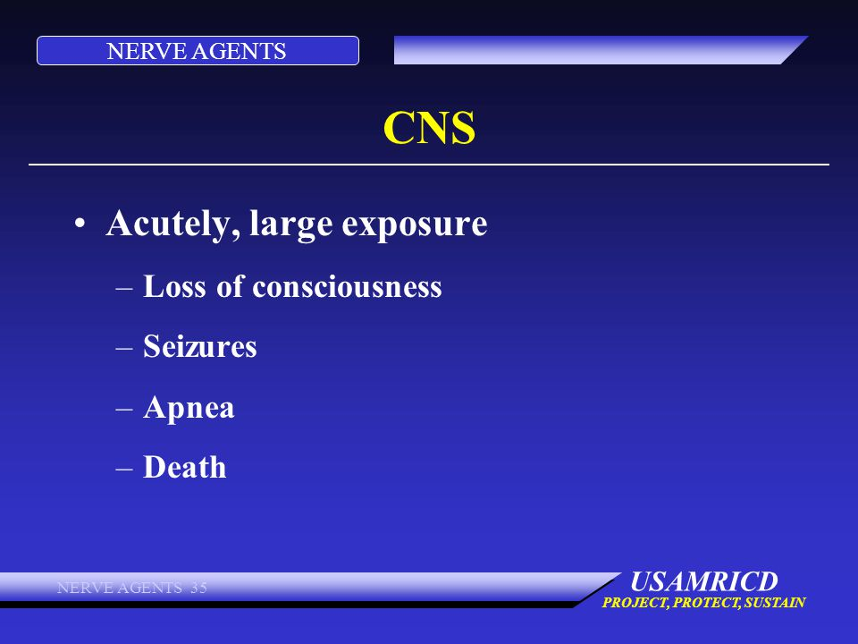 NERVE AGENTS USAMRICD PROJECT, PROTECT, SUSTAIN NERVE AGENTS 35 CNS Acutely, large exposure –Loss of consciousness –Seizures –Apnea –Death