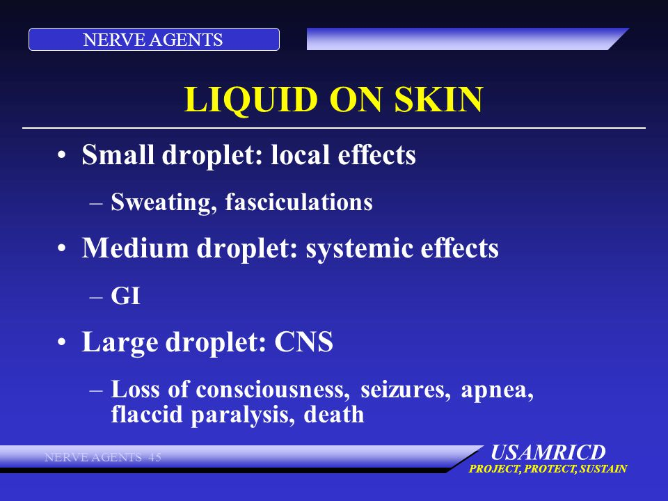 NERVE AGENTS USAMRICD PROJECT, PROTECT, SUSTAIN NERVE AGENTS 45 LIQUID ON SKIN Small droplet: local effects –Sweating, fasciculations Medium droplet: