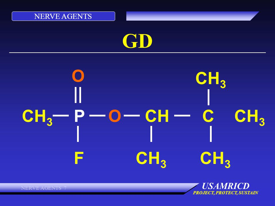 NERVE AGENTS USAMRICD PROJECT, PROTECT, SUSTAIN NERVE AGENTS 7 GD CH 3 O OP F CHC CH 3