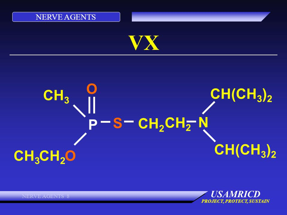 NERVE AGENTS USAMRICD PROJECT, PROTECT, SUSTAIN NERVE AGENTS 8 VX CH 3 O S P CH 2 N CH(CH 3 ) 2 CH 2 CH 3 CH 2 O CH(CH 3 ) 2