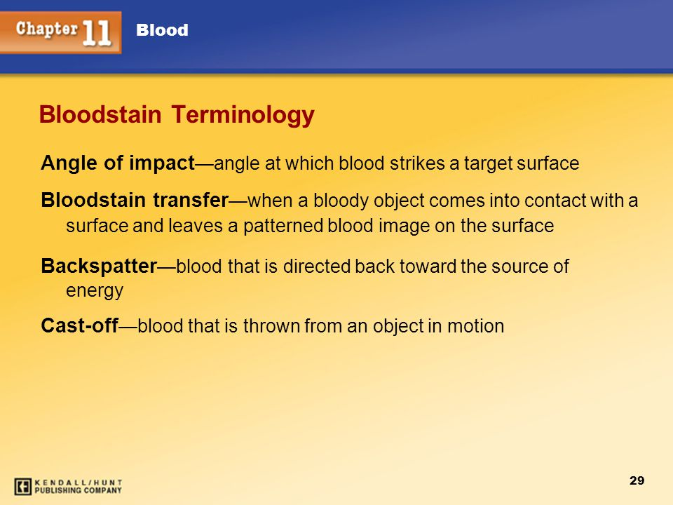 Blood 29 Bloodstain Terminology Angle of impact —angle at which blood strikes a target surface Bloodstain transfer —when a bloody object comes into contact with a surface and leaves a patterned blood image on the surface Backspatter —blood that is directed back toward the source of energy Cast-off —blood that is thrown from an object in motion