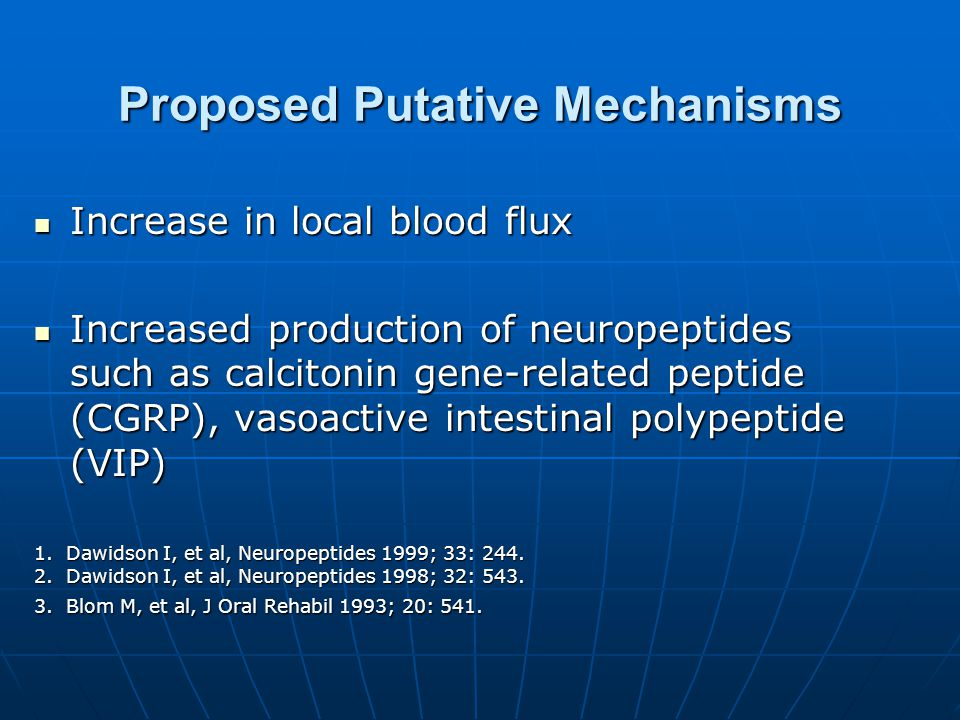 Proposed Putative Mechanisms Increase in local blood flux Increase in local blood flux Increased production of neuropeptides such as calcitonin gene-related peptide (CGRP), vasoactive intestinal polypeptide (VIP) Increased production of neuropeptides such as calcitonin gene-related peptide (CGRP), vasoactive intestinal polypeptide (VIP) 1.