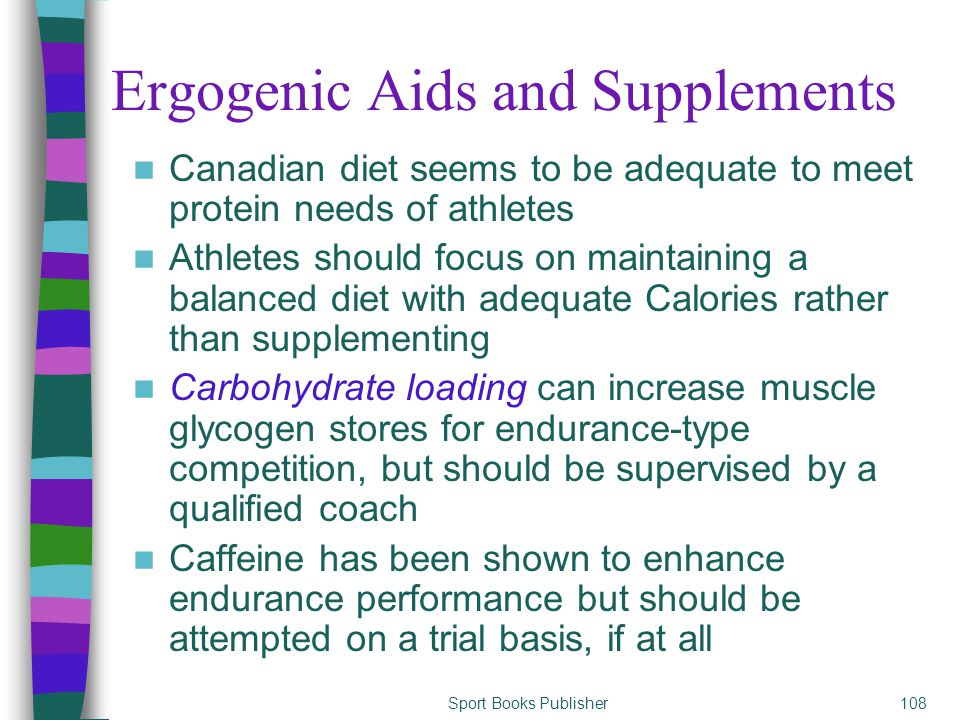 Sport Books Publisher108 Ergogenic Aids and Supplements Canadian diet seems to be adequate to meet protein needs of athletes Athletes should focus on maintaining a balanced diet with adequate Calories rather than supplementing Carbohydrate loading can increase muscle glycogen stores for endurance-type competition, but should be supervised by a qualified coach Caffeine has been shown to enhance endurance performance but should be attempted on a trial basis, if at all