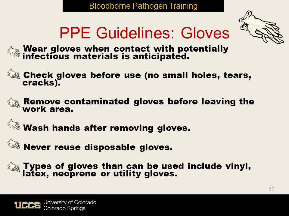 33 PPE Guidelines: Gloves Wear gloves when contact with potentially infectious materials is anticipated. Check gloves before use (no small holes, tear