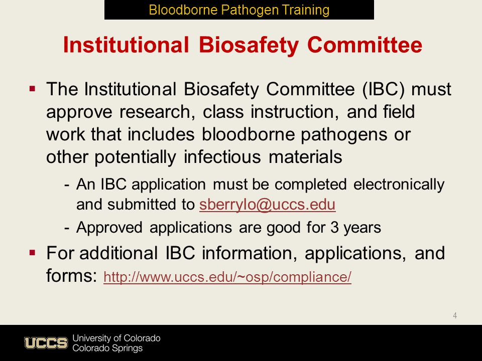 Institutional Biosafety Committee  The Institutional Biosafety Committee (IBC) must approve research, class instruction, and field work that includes