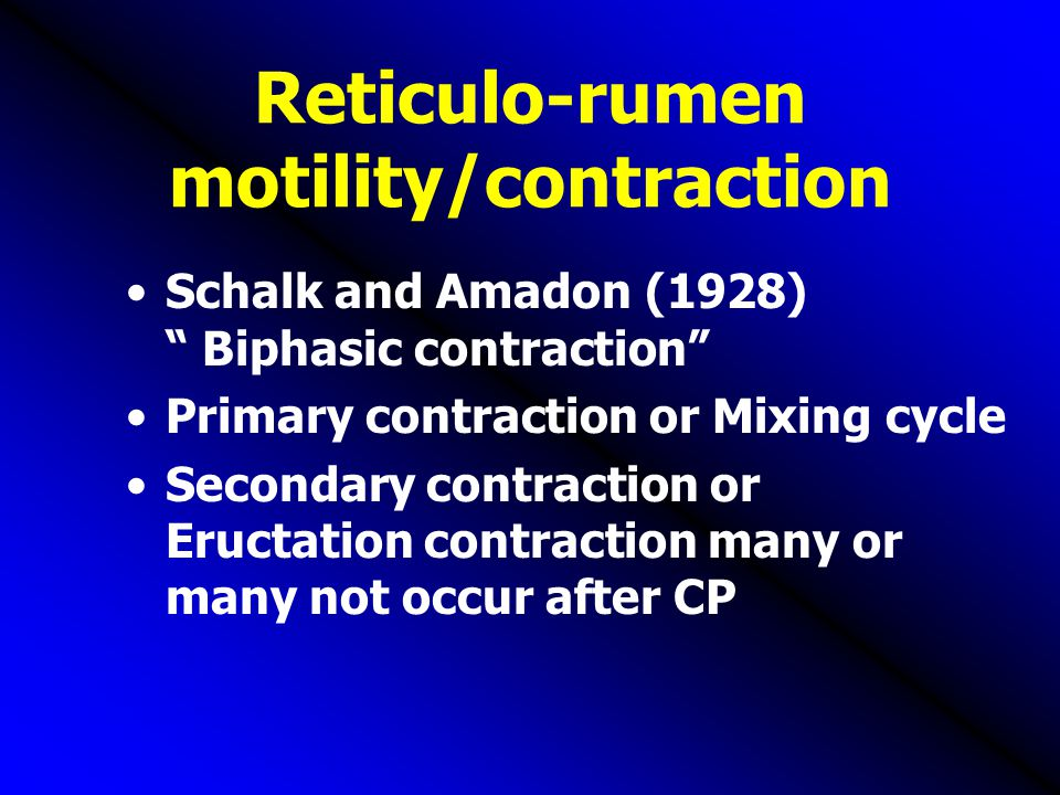"Reticulo-rumen motility/contraction Schalk and Amadon (1928) "" Biphasic contraction"" Primary contraction or Mixing cycle Secondary contraction or Eruc"