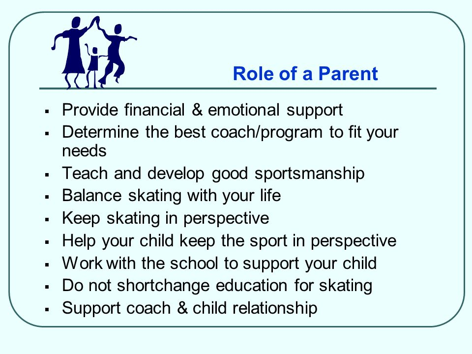 Role of a Parent  Provide financial & emotional support  Determine the best coach/program to fit your needs  Teach and develop good sportsmanship 
