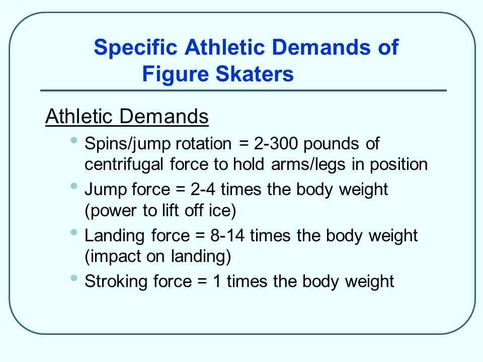 Specific Athletic Demands of Figure Skaters Athletic Demands Spins/jump rotation = 2-300 pounds of centrifugal force to hold arms/legs in position Jum