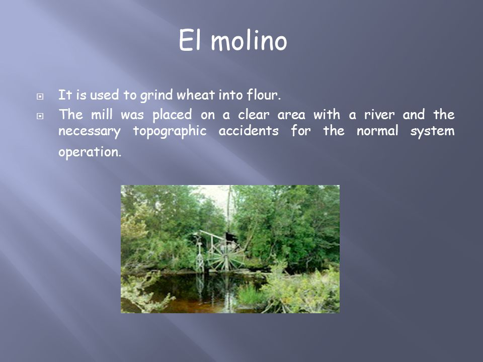  It is used to grind wheat into flour.  The mill was placed on a clear area with a river and the necessary topographic accidents for the normal syst
