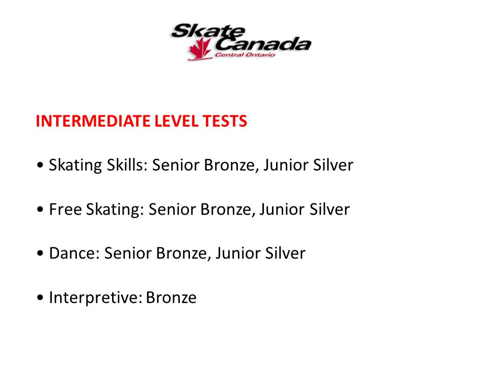 INTERMEDIATE LEVEL TESTS Skating Skills: Senior Bronze, Junior Silver Free Skating: Senior Bronze, Junior Silver Dance: Senior Bronze, Junior Silver I