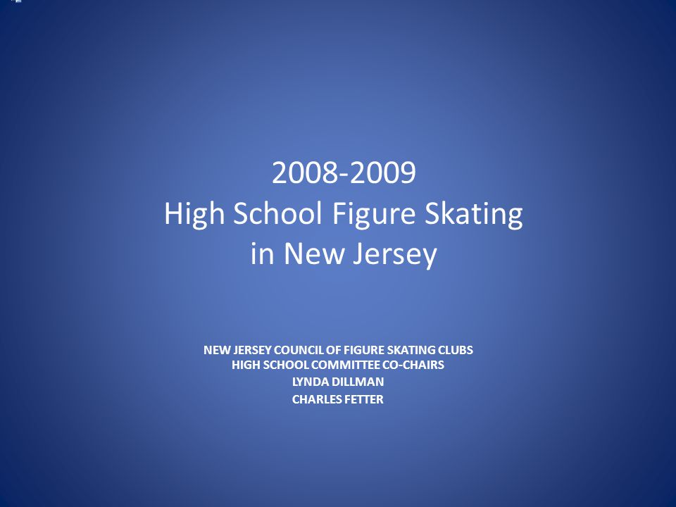 2008-2009 High School Figure Skating in New Jersey NEW JERSEY COUNCIL OF FIGURE SKATING CLUBS HIGH SCHOOL COMMITTEE CO-CHAIRS LYNDA DILLMAN CHARLES FETTER