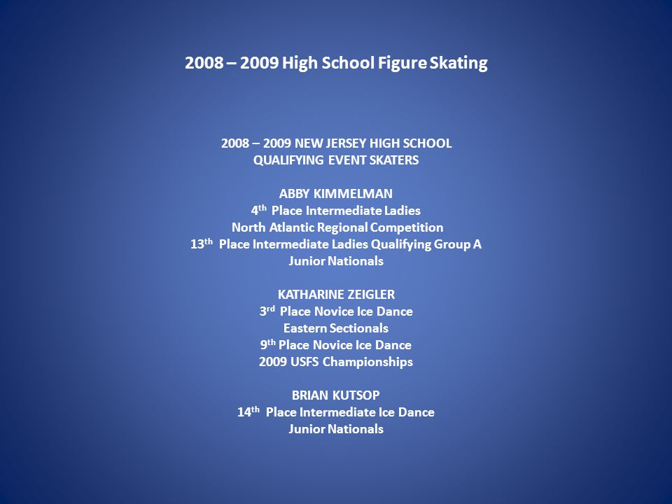 2008 – 2009 High School Figure Skating 2008 – 2009 NEW JERSEY HIGH SCHOOL QUALIFYING EVENT SKATERS ABBY KIMMELMAN 4 th Place Intermediate Ladies North Atlantic Regional Competition 13 th Place Intermediate Ladies Qualifying Group A Junior Nationals KATHARINE ZEIGLER 3 rd Place Novice Ice Dance Eastern Sectionals 9 th Place Novice Ice Dance 2009 USFS Championships BRIAN KUTSOP 14 th Place Intermediate Ice Dance Junior Nationals