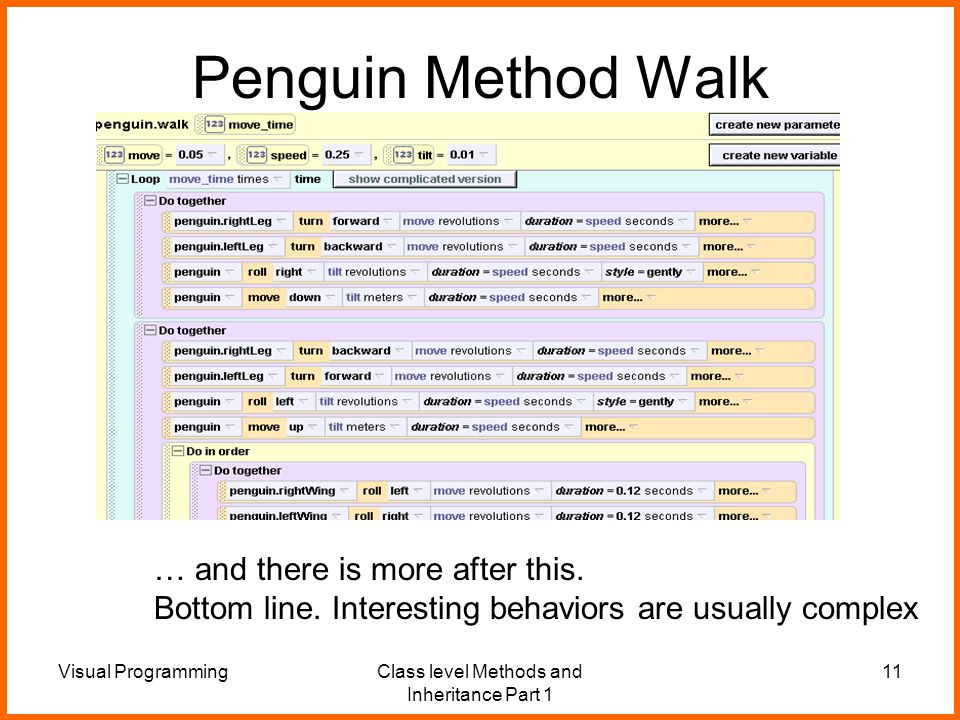 Visual ProgrammingClass level Methods and Inheritance Part 1 11 Penguin Method Walk … and there is more after this.