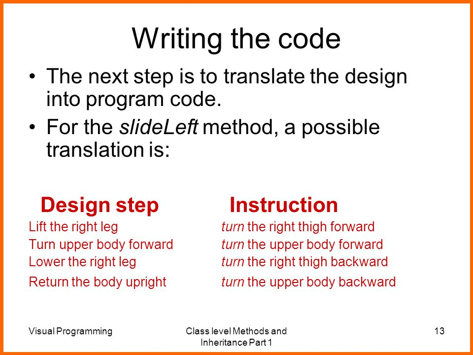 Visual ProgrammingClass level Methods and Inheritance Part 1 13 Writing the code The next step is to translate the design into program code.