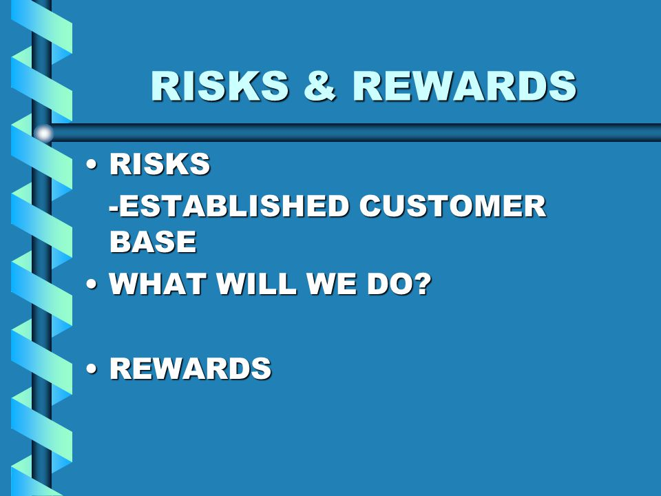 RISKS & REWARDS RISKSRISKS -ESTABLISHED CUSTOMER BASE WHAT WILL WE DO WHAT WILL WE DO.