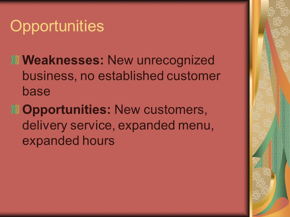 Opportunities Weaknesses: New unrecognized business, no established customer base Opportunities: New customers, delivery service, expanded menu, expanded hours