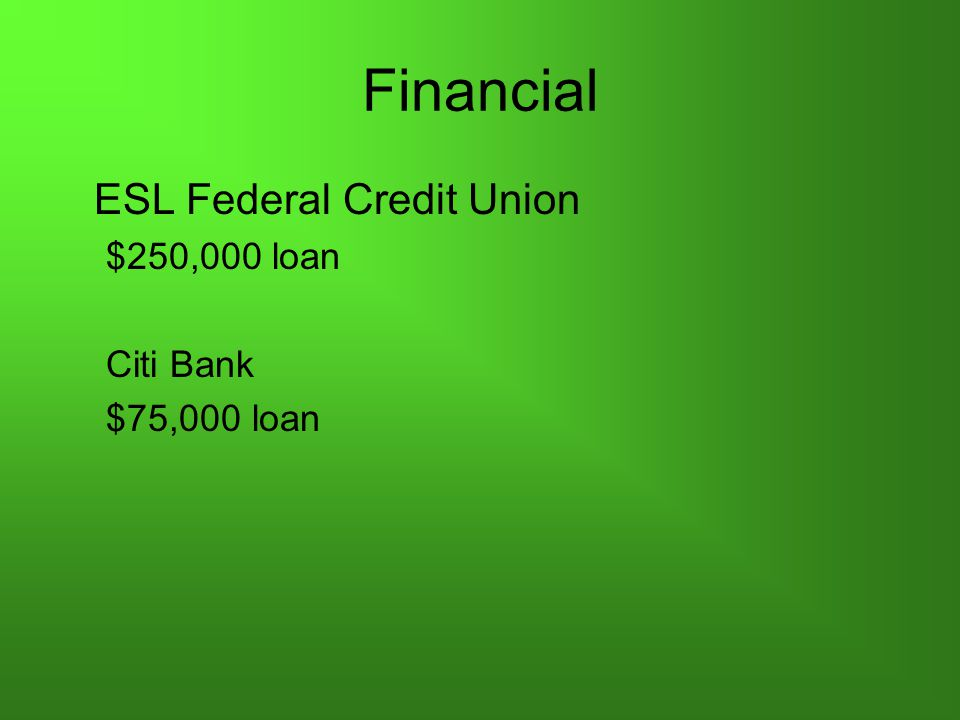 Financial ESL Federal Credit Union $250,000 loan Citi Bank $75,000 loan