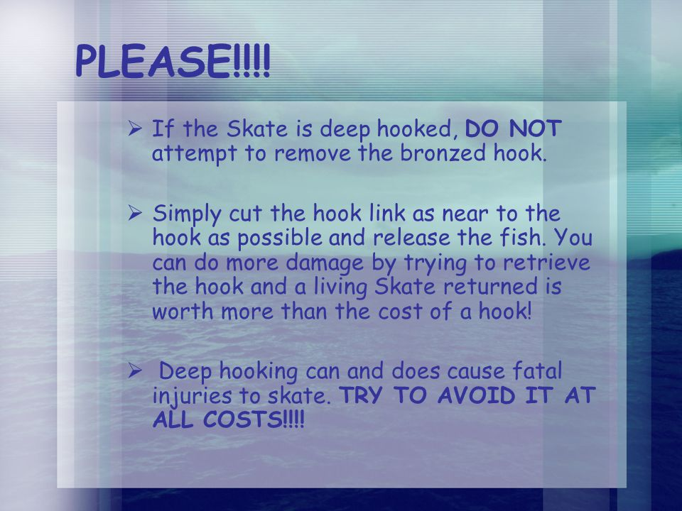 PLEASE!!!.  If the Skate is deep hooked, DO NOT attempt to remove the bronzed hook.