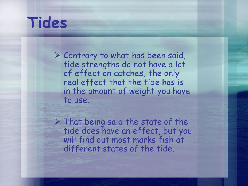 Tides  Contrary to what has been said, tide strengths do not have a lot of effect on catches, the only real effect that the tide has is in the amount of weight you have to use.