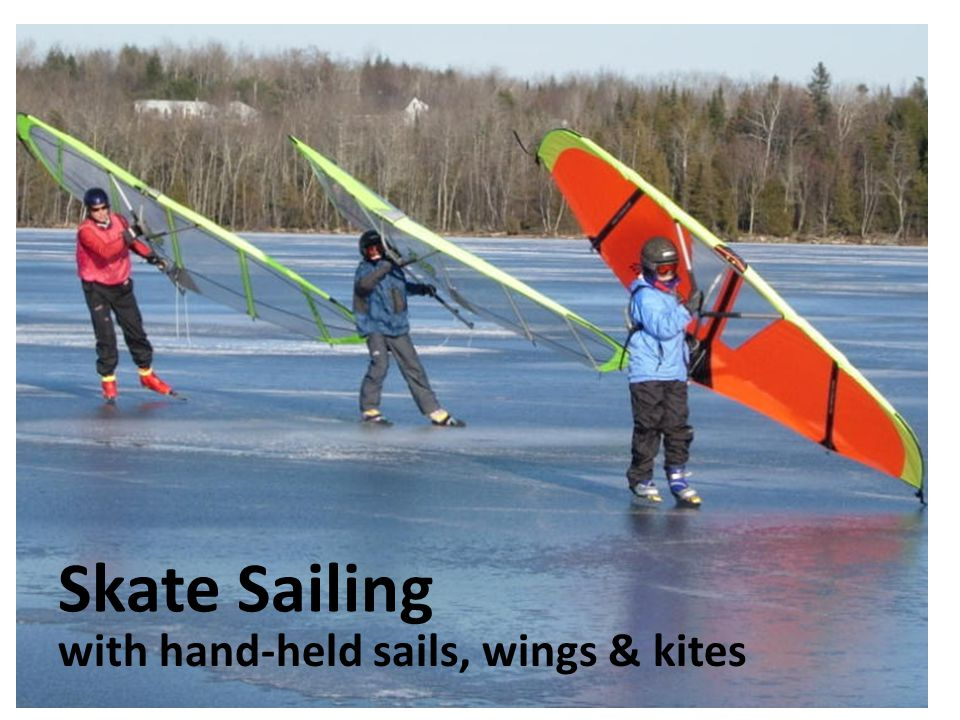 Skate Sailing with hand-held sails, wings & kites