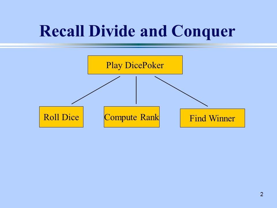 2 Recall Divide and Conquer Play DicePoker Roll DiceCompute Rank Find Winner