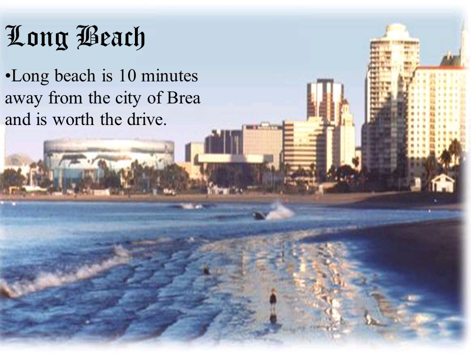 Long Beach Long beach is 10 minutes away from the city of Brea and is worth the drive Long Beach Long beach is 10 minutes away from the city of Brea and is worth the drive.