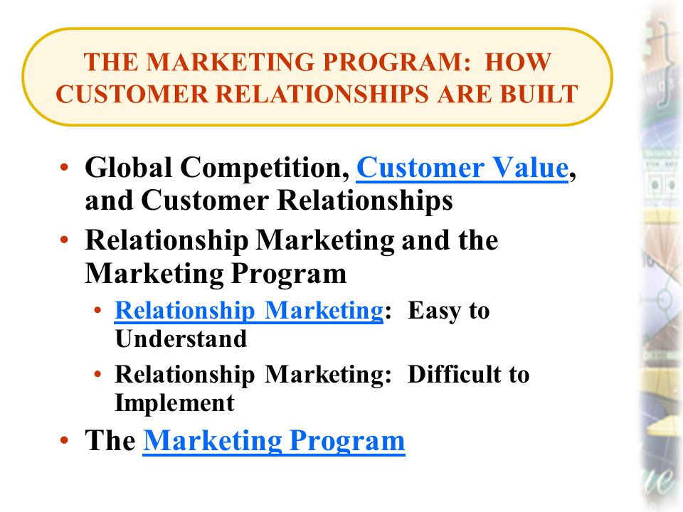 Global Competition, Customer Value, and Customer RelationshipsCustomer Value Relationship Marketing and the Marketing Program Relationship Marketing: Easy to UnderstandRelationship Marketing Relationship Marketing: Difficult to Implement The Marketing ProgramMarketing Program THE MARKETING PROGRAM: HOW CUSTOMER RELATIONSHIPS ARE BUILT