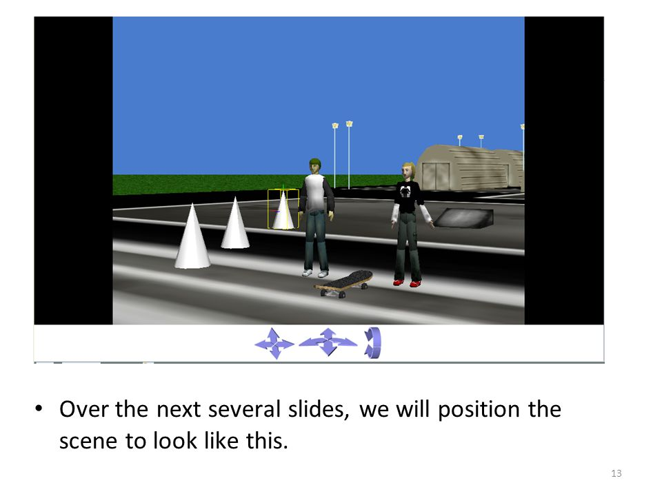Over the next several slides, we will position the scene to look like this. 13