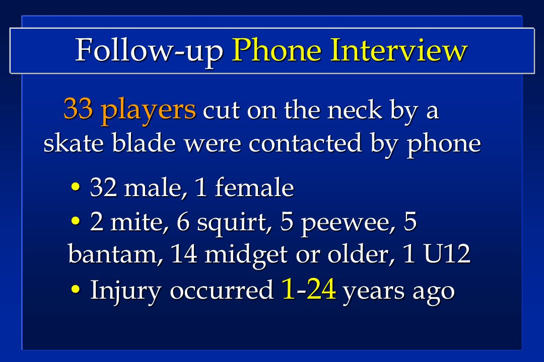 Follow-up Phone Interview 33 players cut on the neck by a skate blade were contacted by phone 33 players cut on the neck by a skate blade were contacted by phone 32 male, 1 female 32 male, 1 female 2 mite, 6 squirt, 5 peewee, 5 bantam, 14 midget or older, 1 U12 2 mite, 6 squirt, 5 peewee, 5 bantam, 14 midget or older, 1 U12 Injury occurred 1-24 years ago Injury occurred 1-24 years ago