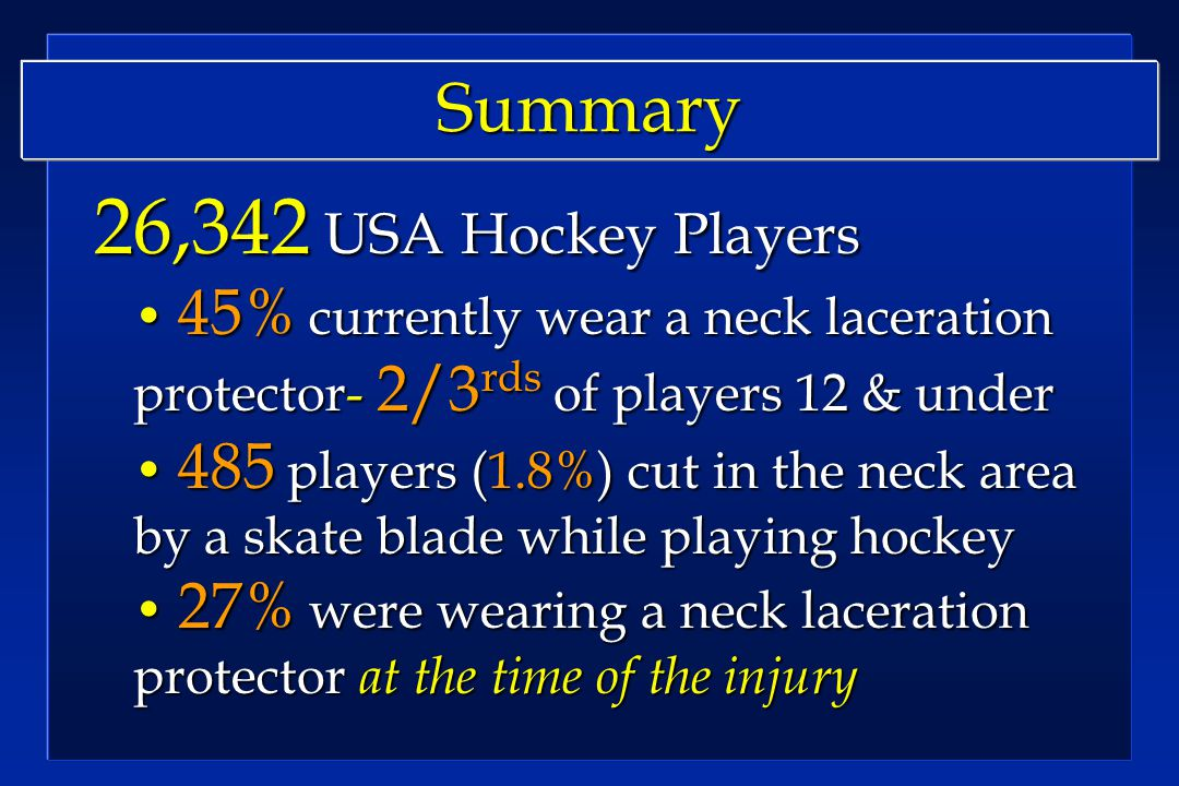 Summary 26,342 USA Hockey Players 26,342 USA Hockey Players 45% currently wear a neck laceration protector- 2/3 rds of players 12 & under 45% currently wear a neck laceration protector- 2/3 rds of players 12 & under 485 players (1.8%) cut in the neck area by a skate blade while playing hockey 485 players (1.8%) cut in the neck area by a skate blade while playing hockey 27% were wearing a neck laceration protector at the time of the injury 27% were wearing a neck laceration protector at the time of the injury