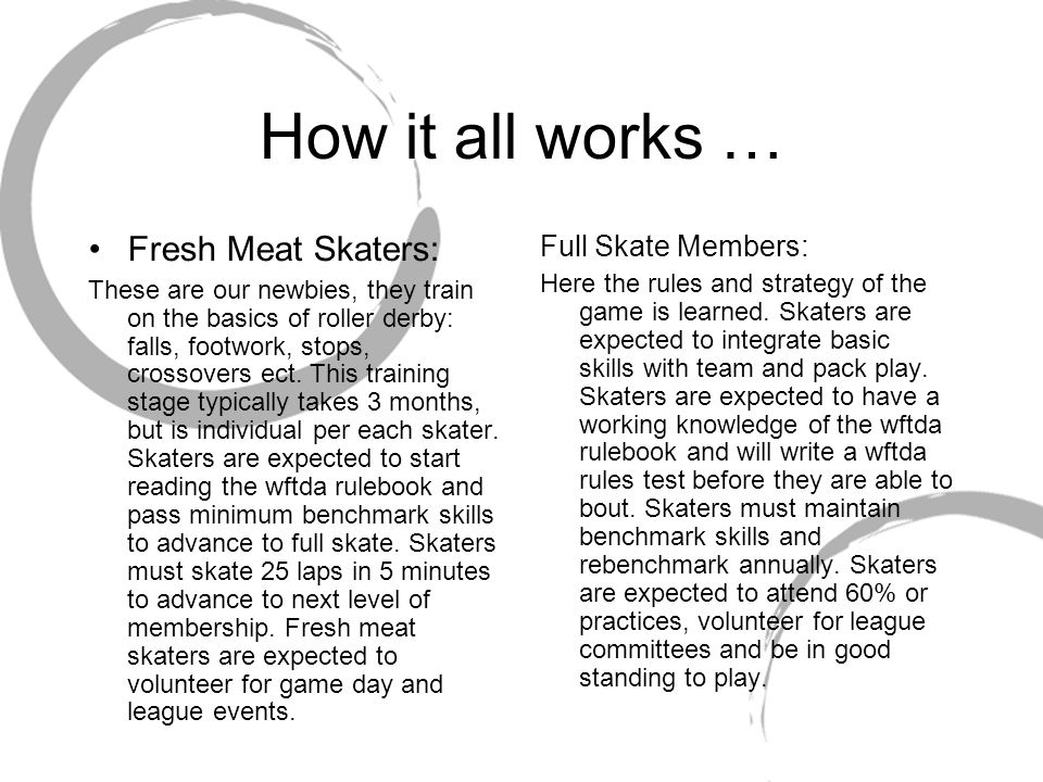 How it all works … Fresh Meat Skaters: These are our newbies, they train on the basics of roller derby: falls, footwork, stops, crossovers ect.