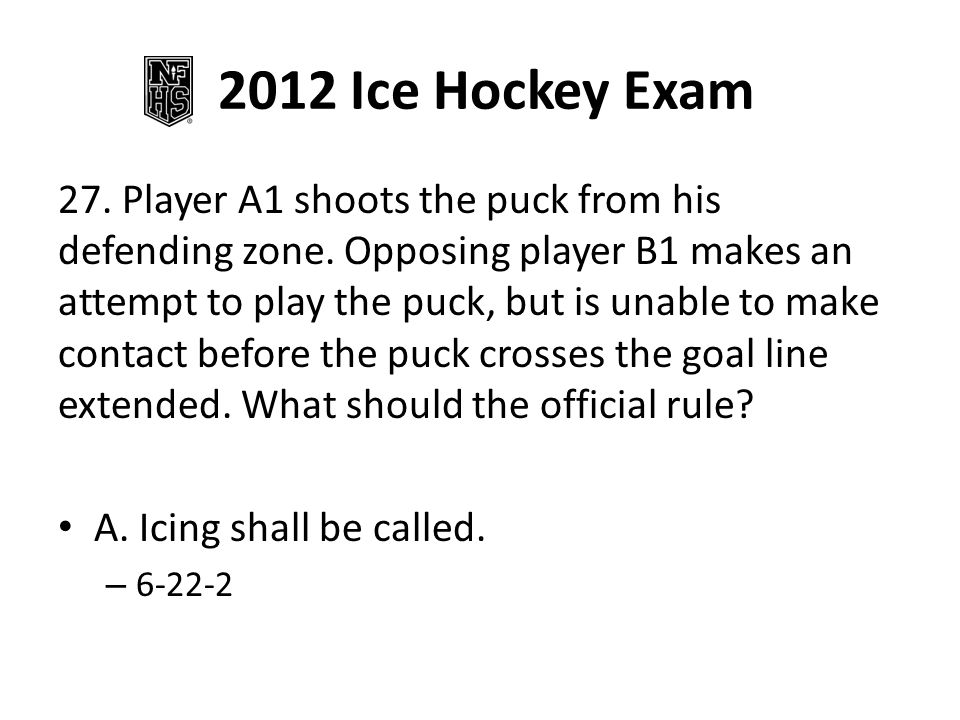 2012 Ice Hockey Exam 27. Player A1 shoots the puck from his defending zone.