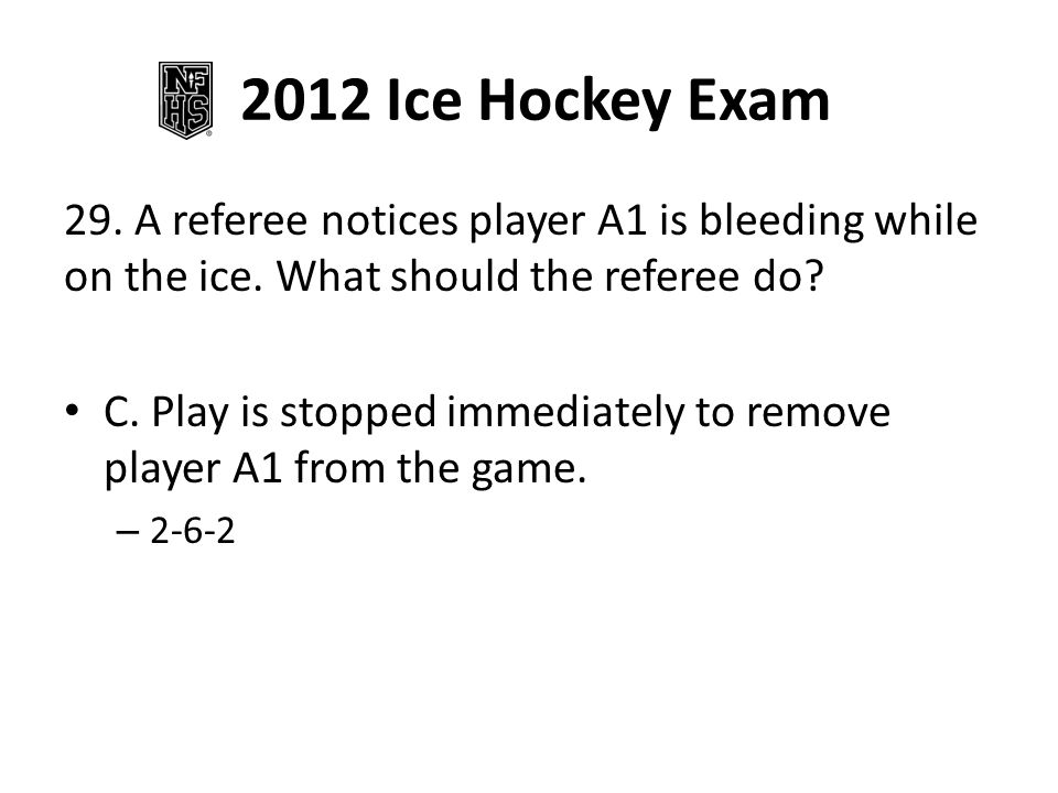 2012 Ice Hockey Exam 29. A referee notices player A1 is bleeding while on the ice.