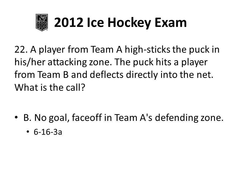 2012 Ice Hockey Exam 22. A player from Team A high-sticks the puck in his/her attacking zone.