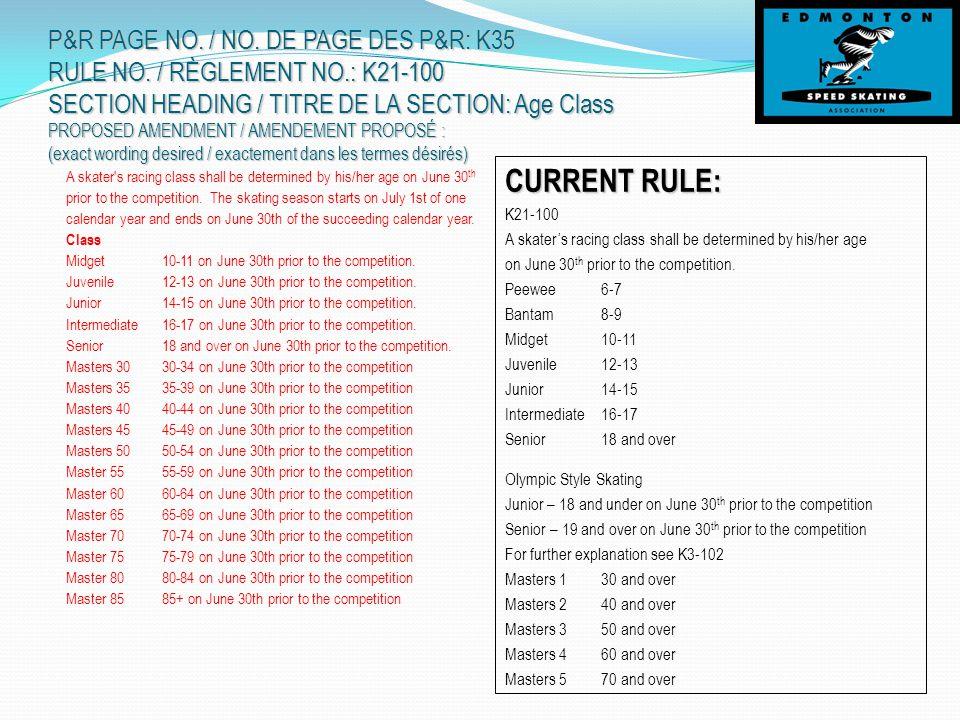 P&R PAGE NO. / NO. DE PAGE DES P&R: K35 RULE NO.