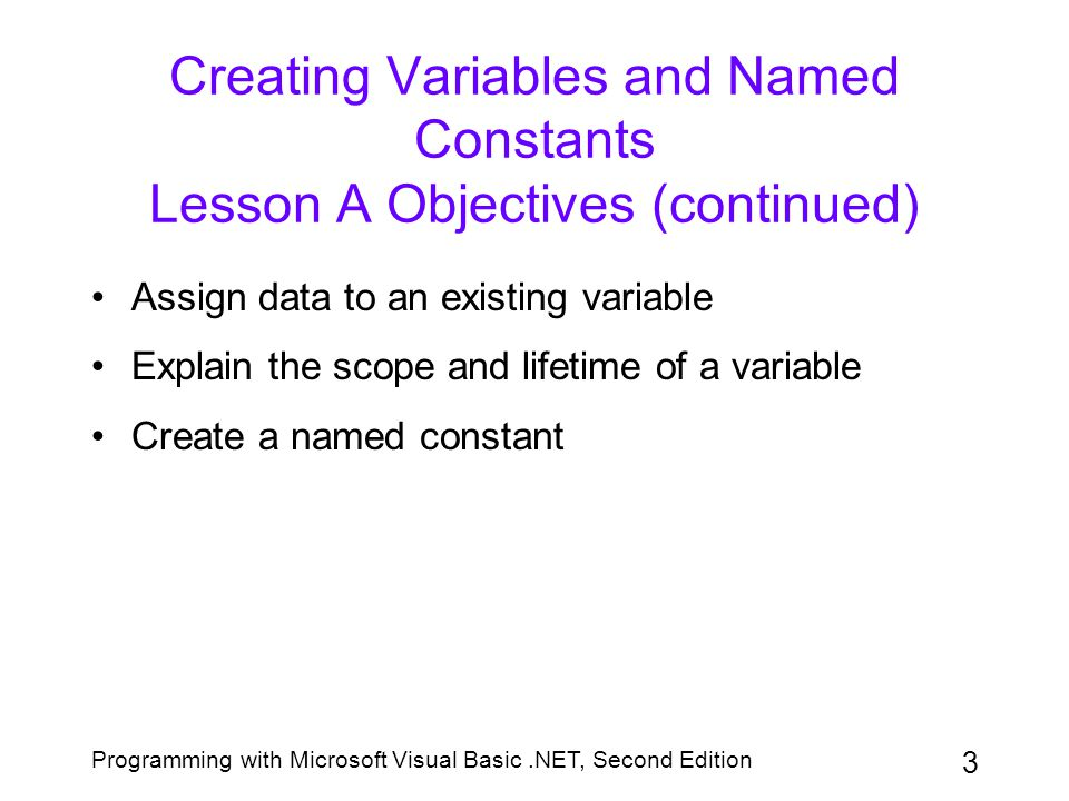 Programming with Microsoft Visual Basic.NET, Second Edition 14 Assigning Data to an Existing Variable (continued) Figure 3-7: Literal type characters