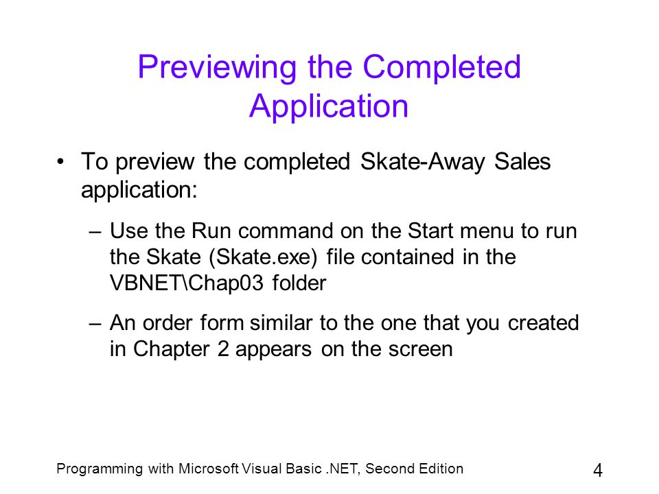 Programming with Microsoft Visual Basic.NET, Second Edition 5 Using Variables to Store Information Besides storing data in the properties of controls, a programmer also can store data, temporarily, in memory locations inside the computer The memory locations are called variables, because the contents of the locations can change as the program is running