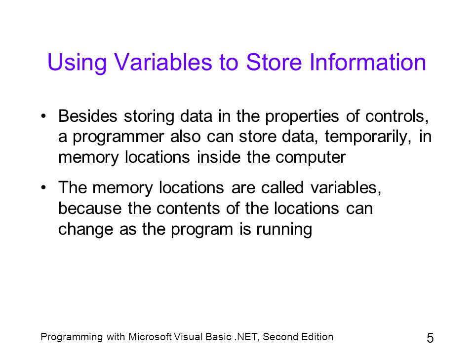Programming with Microsoft Visual Basic.NET, Second Edition 36 The InputBox Function (continued) Figure 3-29: Example of a dialog box created by the InputBox function